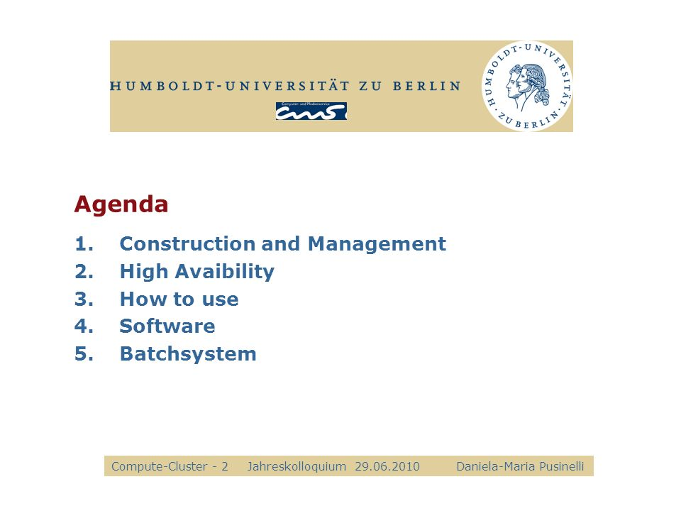 Agenda Construction and Management High Avaibility How to use Software