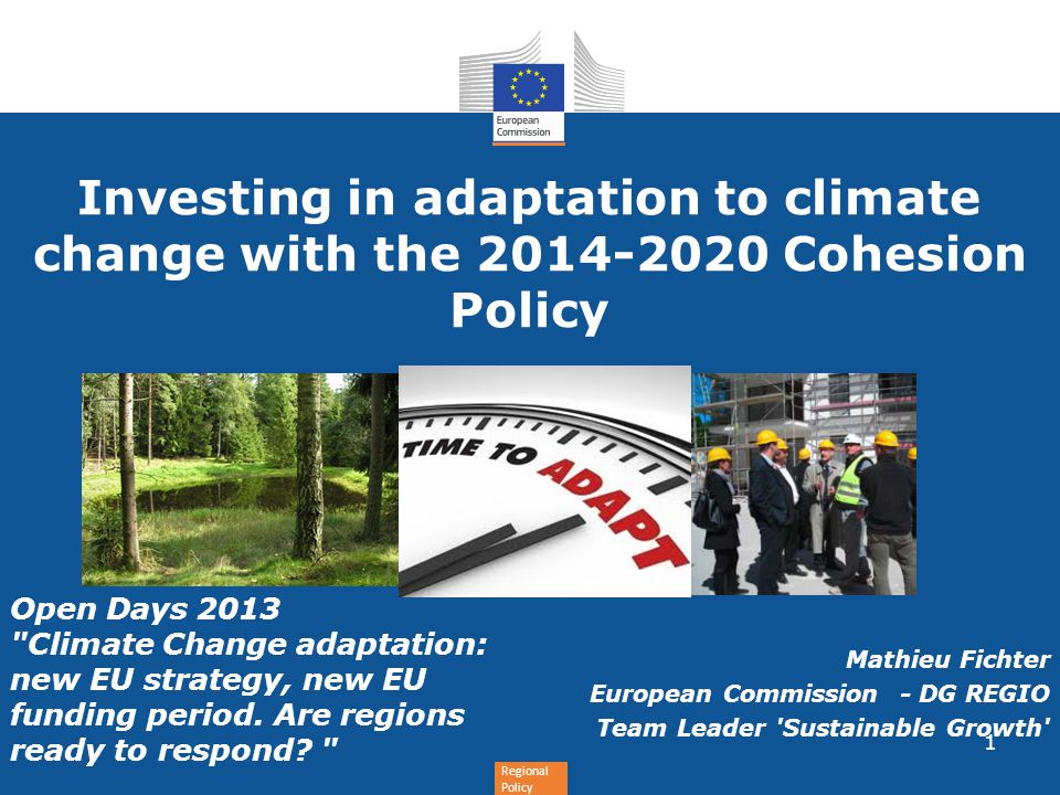 Investing in adaptation to climate change with the Cohesion Policy