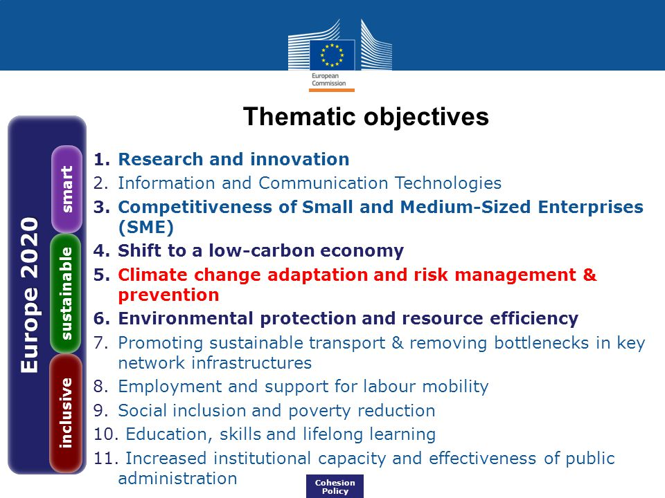 Thematic objectives Europe 2020 Research and innovation