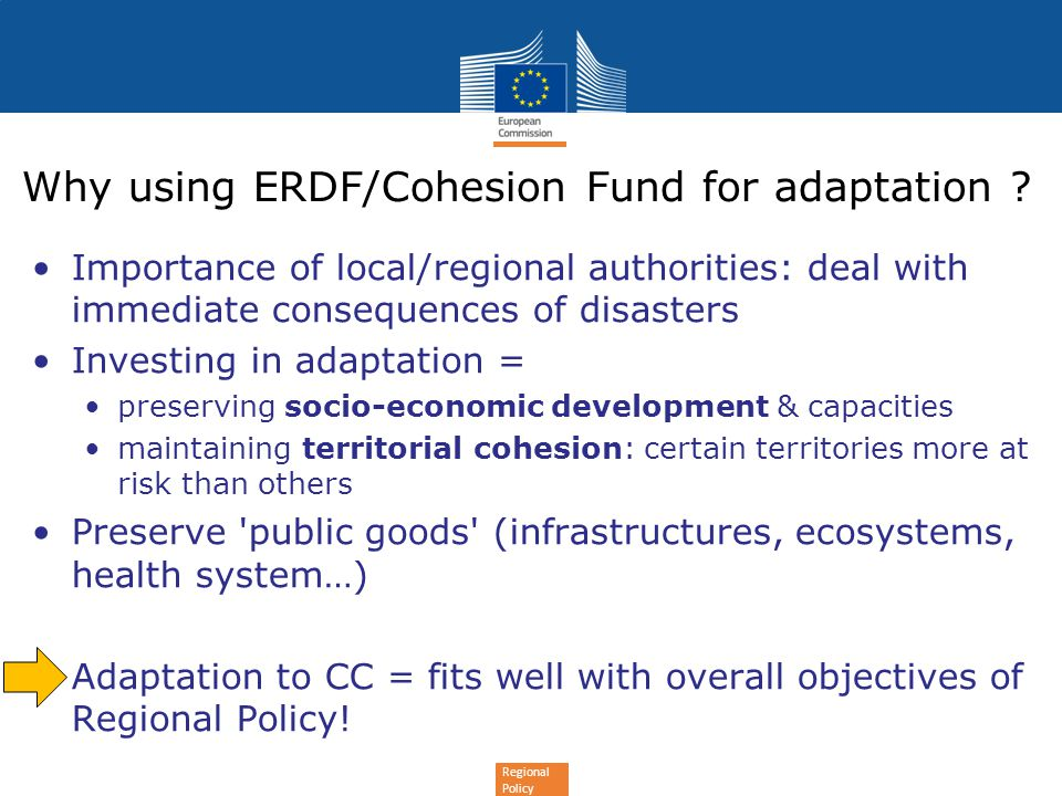 Why using ERDF/Cohesion Fund for adaptation