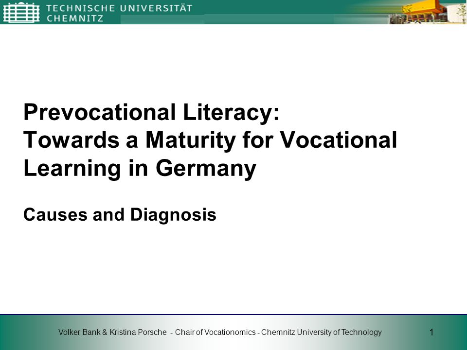 Prevocational Literacy: Towards a Maturity for Vocational Learning in Germany Causes and Diagnosis
