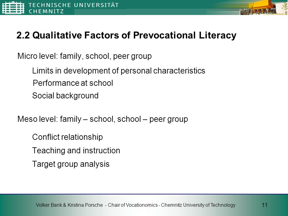 2.2 Qualitative Factors of Prevocational Literacy