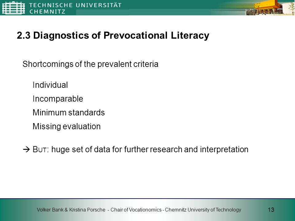 2.3 Diagnostics of Prevocational Literacy
