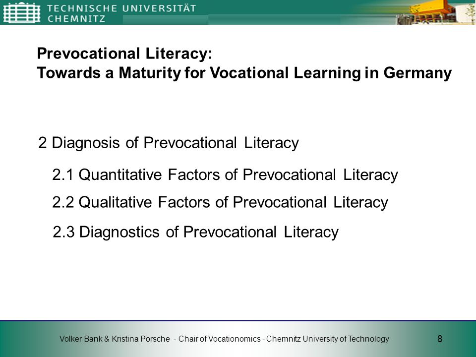 2 Diagnosis of Prevocational Literacy