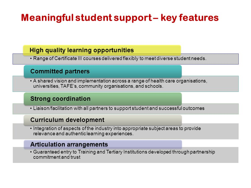 Meaningful student support – key features