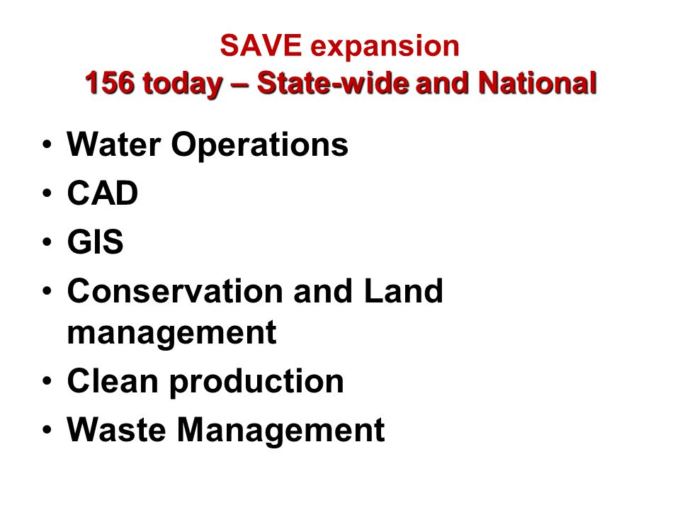 SAVE expansion 156 today – State-wide and National