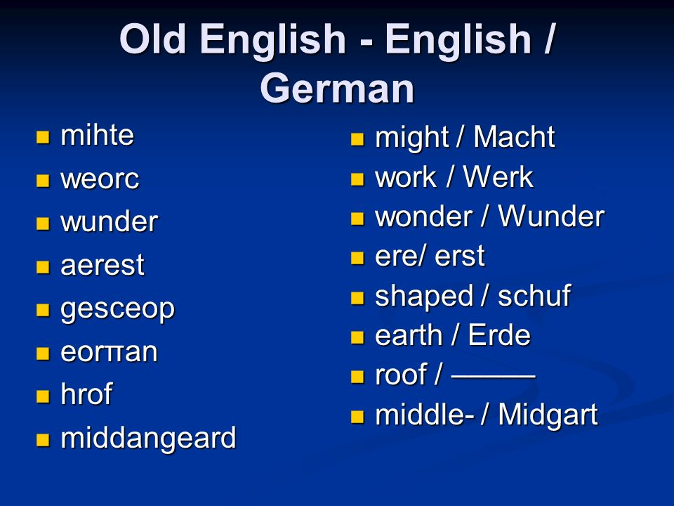 Old English - English / German