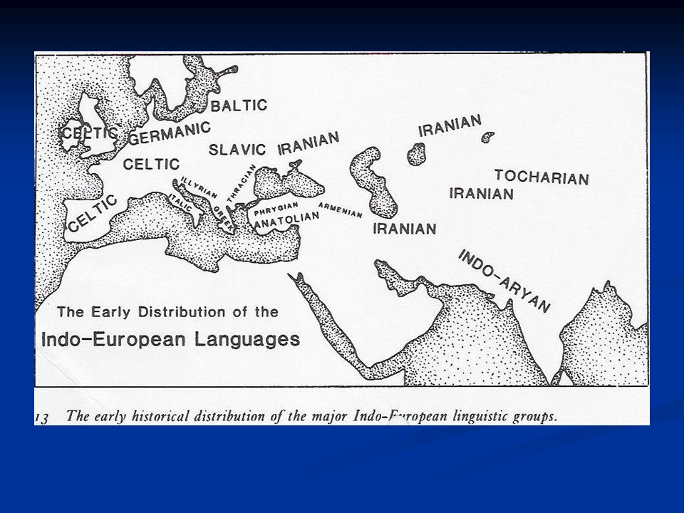 Early historical distribution of the major IE linguistic groups