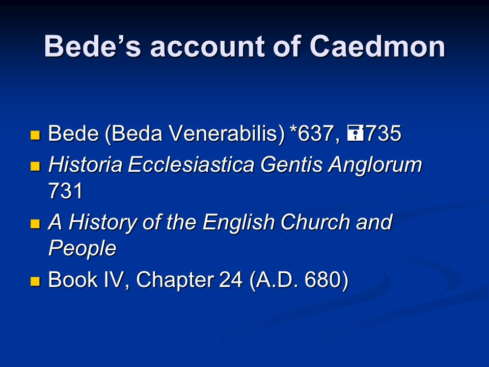 Bede's account of Caedmon