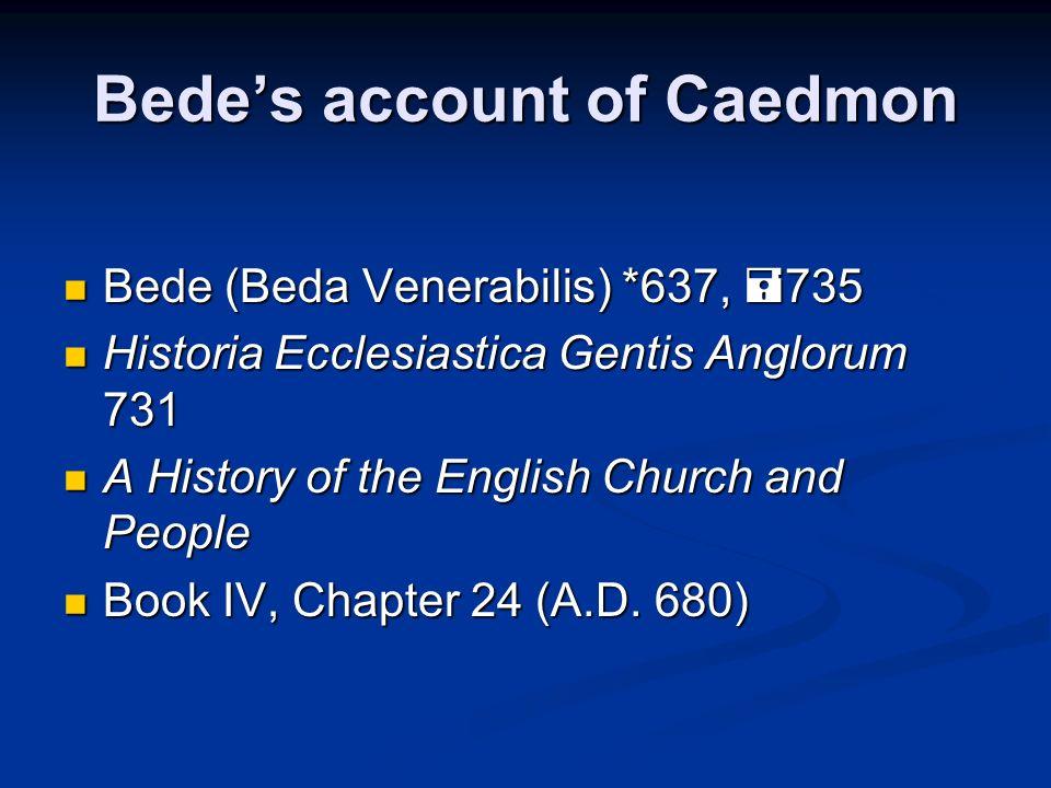 Bede's account of Caedmon