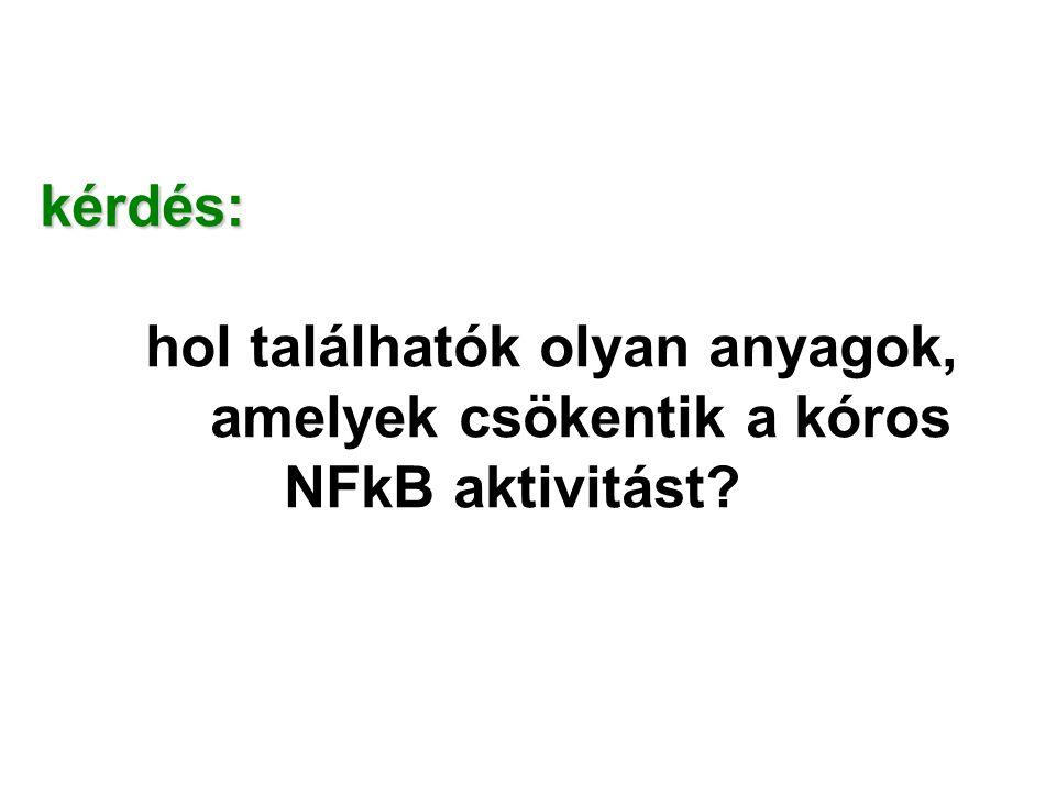 kérdés: hol találhatók olyan anyagok, amelyek csökentik a kóros NFkB aktivitást