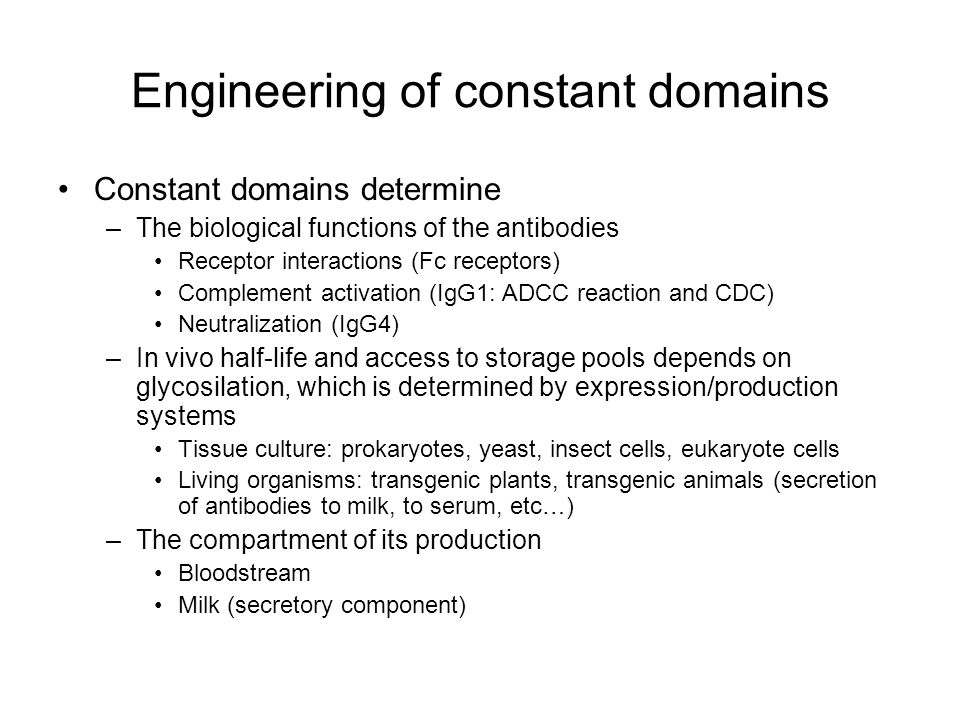 Engineering of constant domains