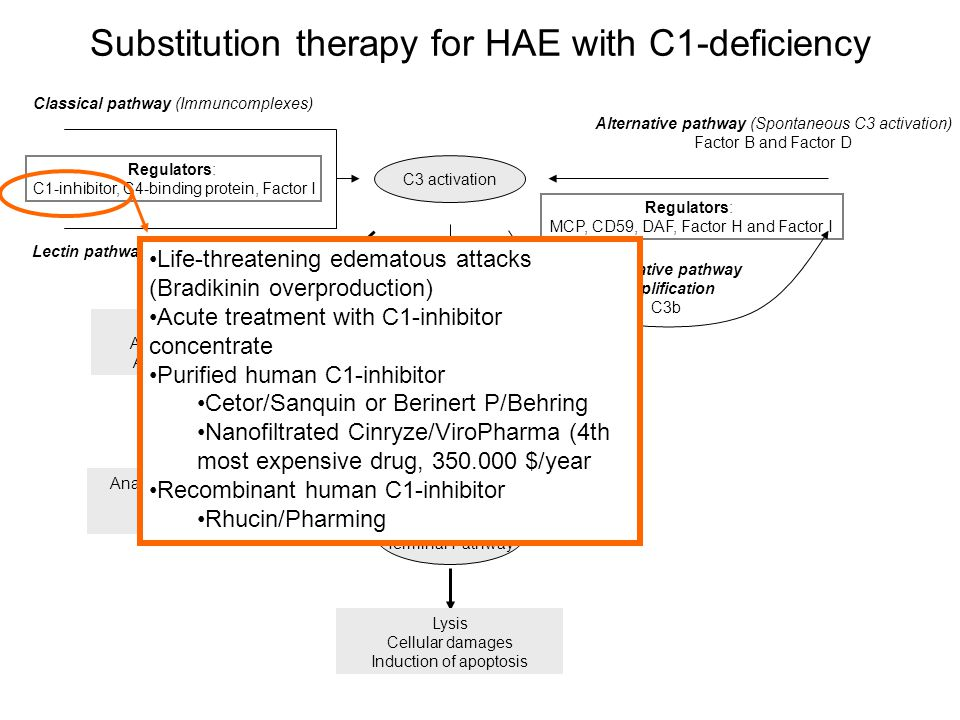 Substitution therapy for HAE with C1-deficiency