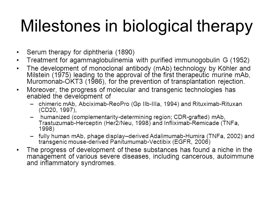 Milestones in biological therapy