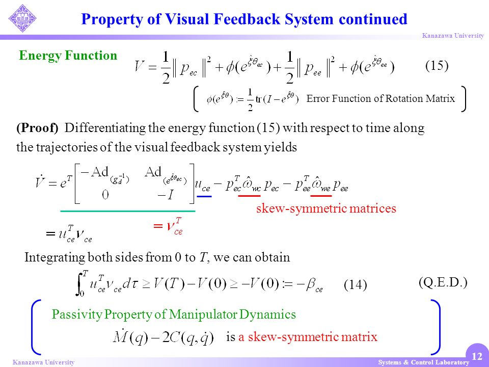 Property of Visual Feedback System continued