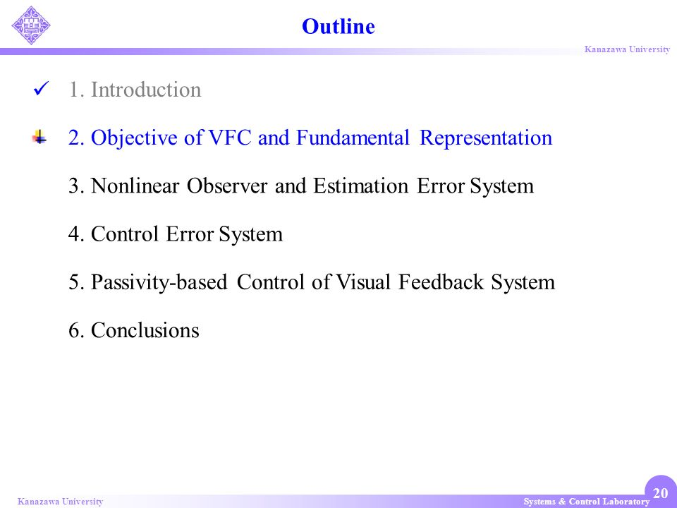 Outline 1. Introduction. 2. Objective of VFC and Fundamental Representation. 3. Nonlinear Observer and Estimation Error System.