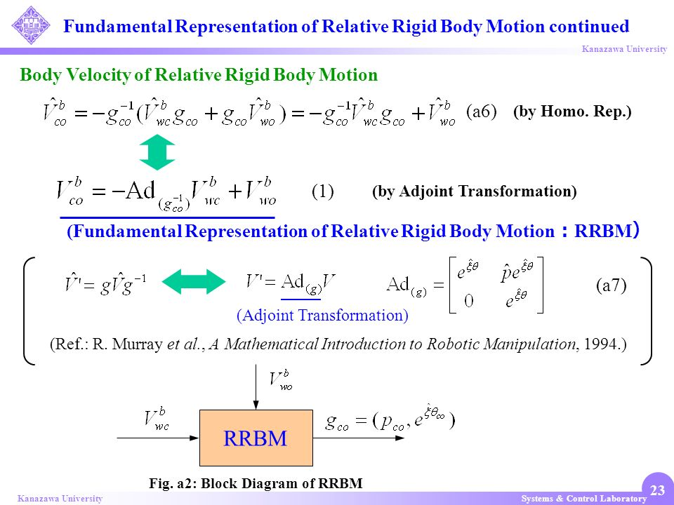 Fundamental Representation of Relative Rigid Body Motion continued