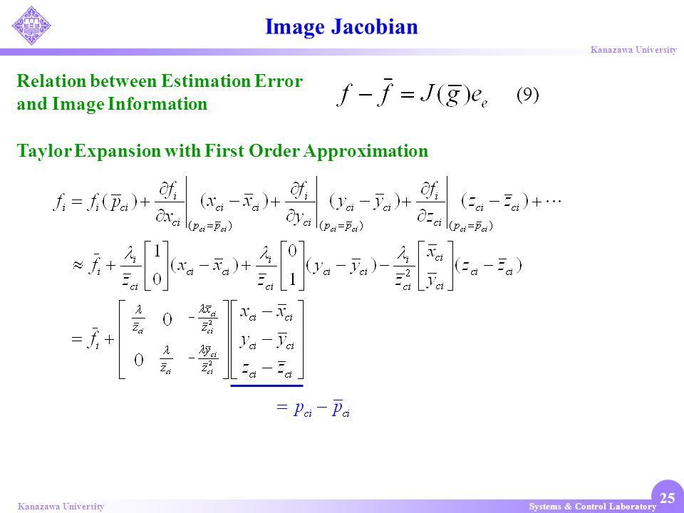 Image Jacobian Relation between Estimation Error and Image Information