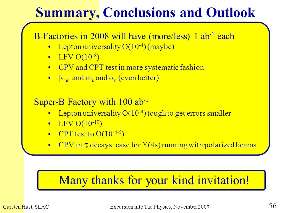 Summary, Conclusions and Outlook