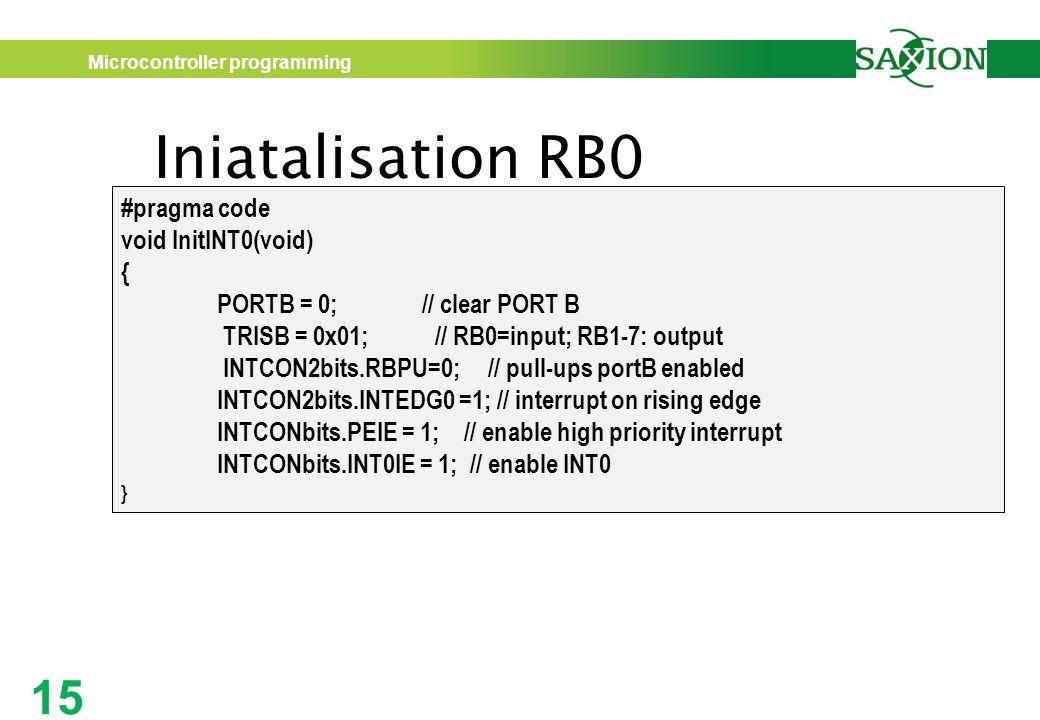 Iniatalisation RB0 #pragma code void InitINT0(void) {