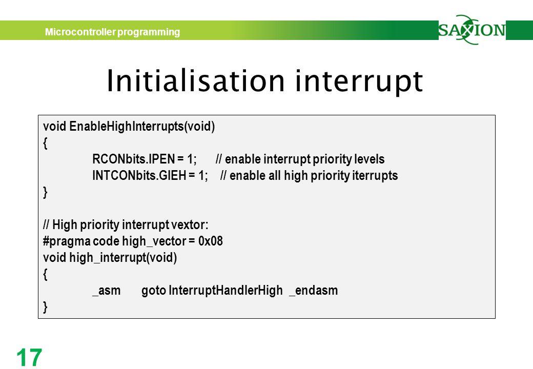 Initialisation interrupt