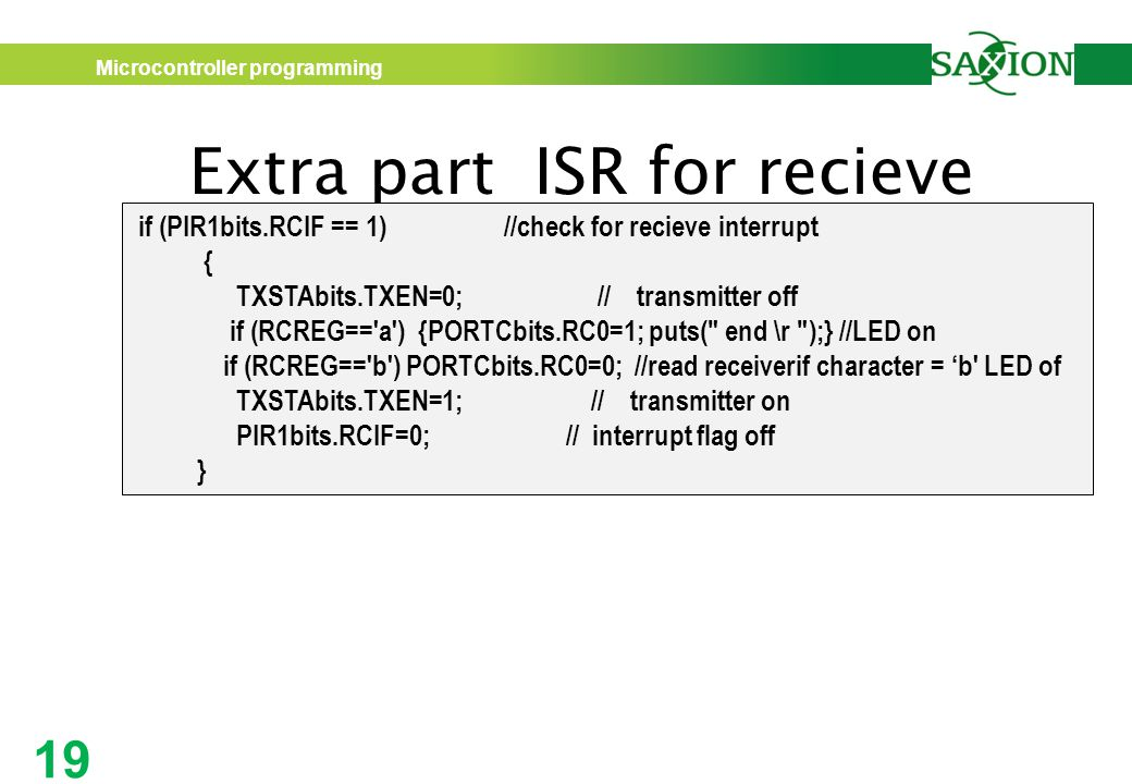 Extra part ISR for recieve