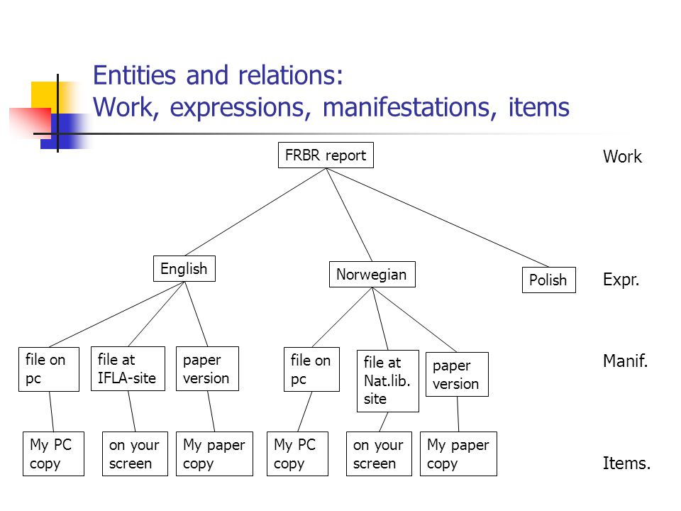 Entities and relations: Work, expressions, manifestations, items