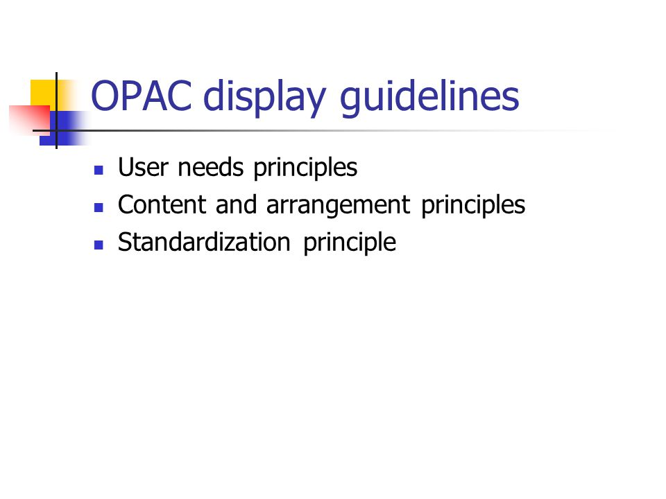 OPAC display guidelines