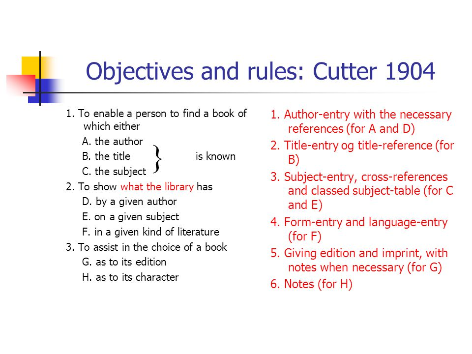 Objectives and rules: Cutter 1904