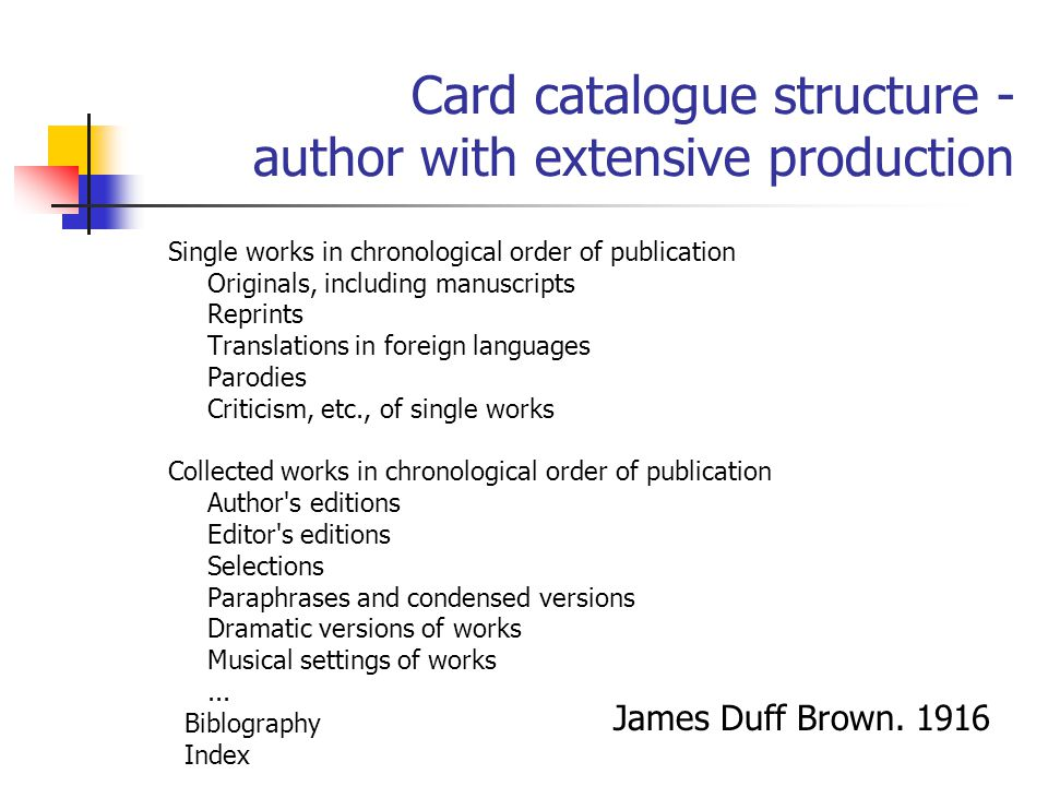 Card catalogue structure - author with extensive production