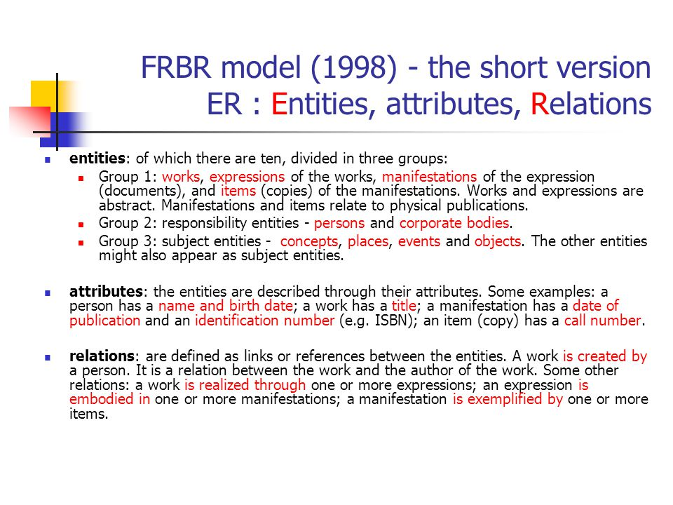 FRBR model (1998) - the short version ER : Entities, attributes, Relations