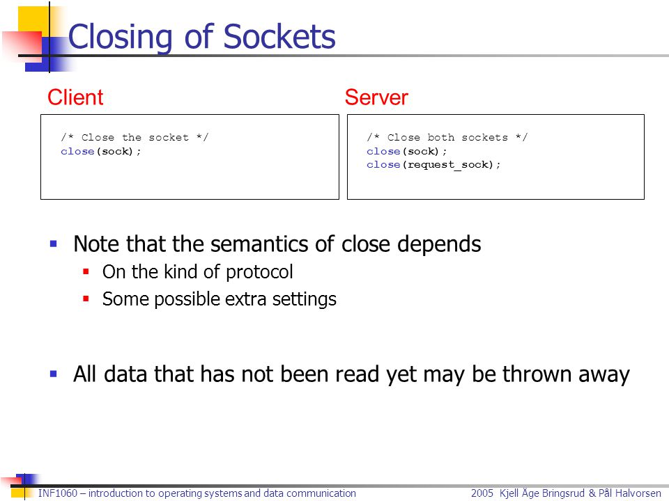 Closing of Sockets Client Server