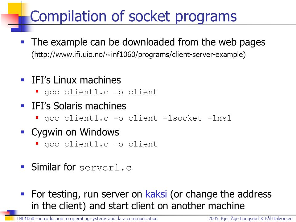 Compilation of socket programs