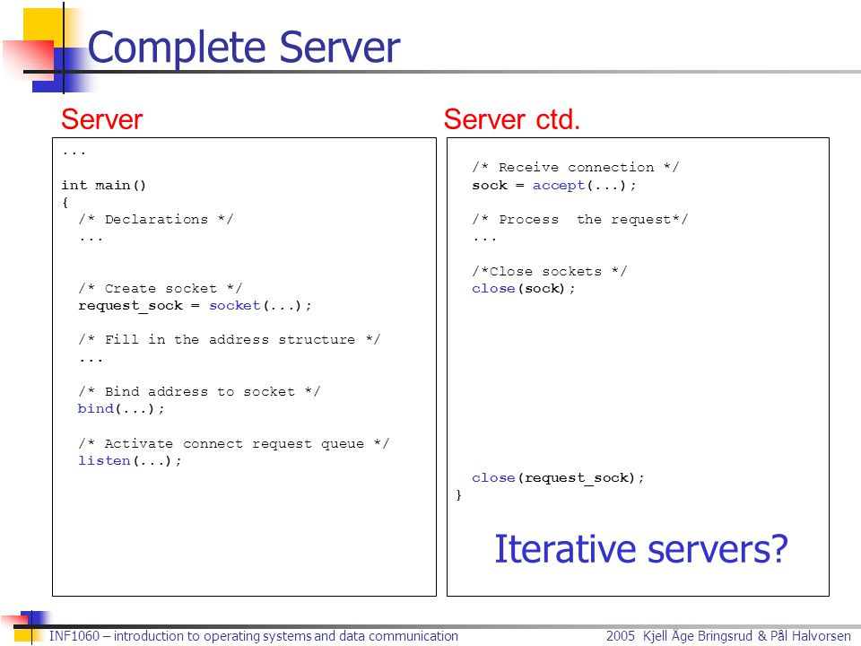 Complete Server Iterative servers Server Server ctd. ... int main() {