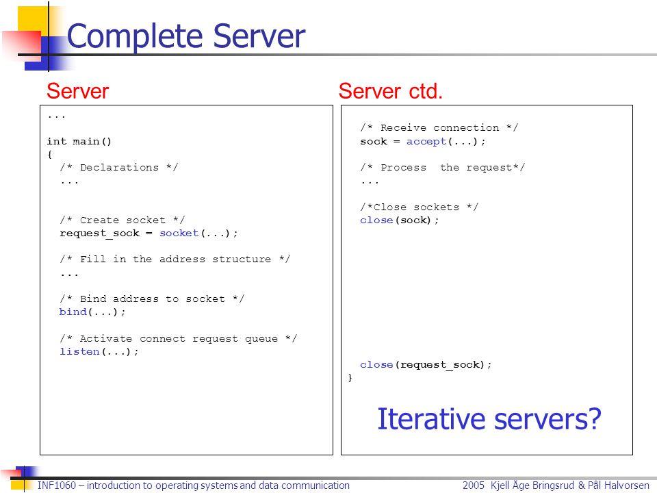 Complete Server Iterative servers Server Server ctd. ... int main() {