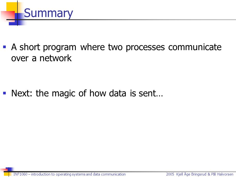 Summary A short program where two processes communicate over a network