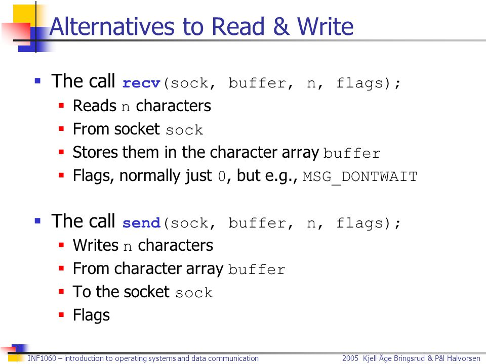 Alternatives to Read & Write