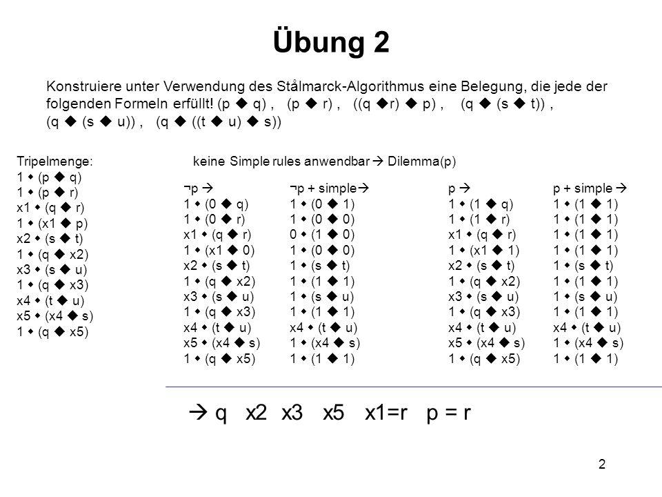 Übung 2 Konstruiere unter Verwendung des Stålmarck-Algorithmus eine Belegung, die jede der.
