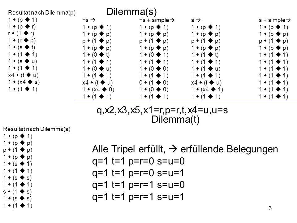 Alle Tripel erfüllt,  erfüllende Belegungen q=1 t=1 p=r=0 s=u=0