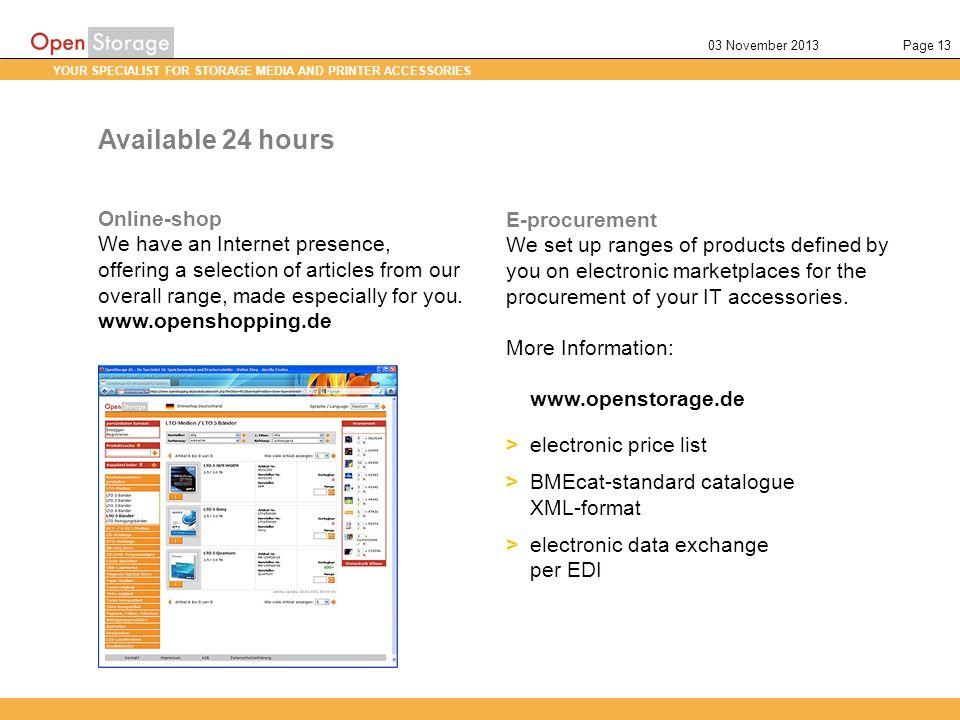 Available 24 hours Online-shop E-procurement