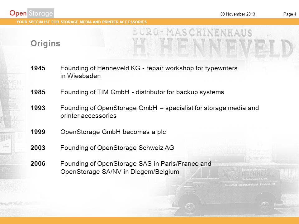 21 March 2017 Origins. 1945 Founding of Henneveld KG - repair workshop for typewriters. in Wiesbaden.