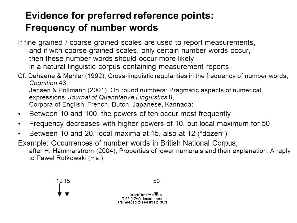 Evidence for preferred reference points: Frequency of number words
