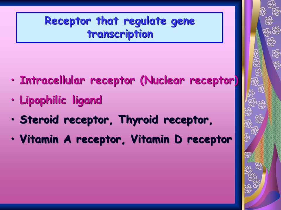 Receptor that regulate gene transcription