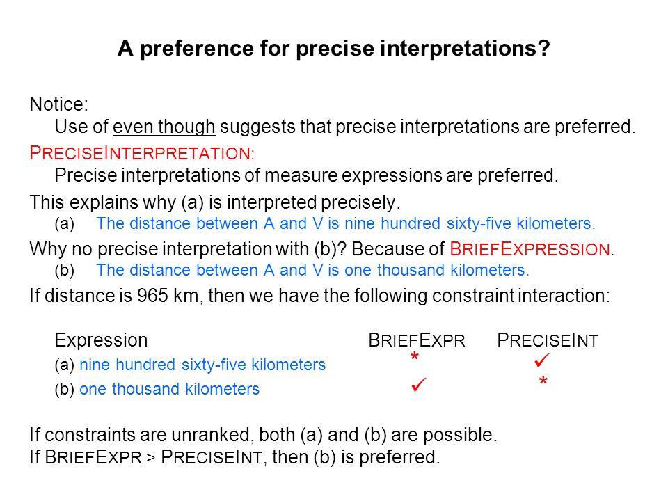 A preference for precise interpretations