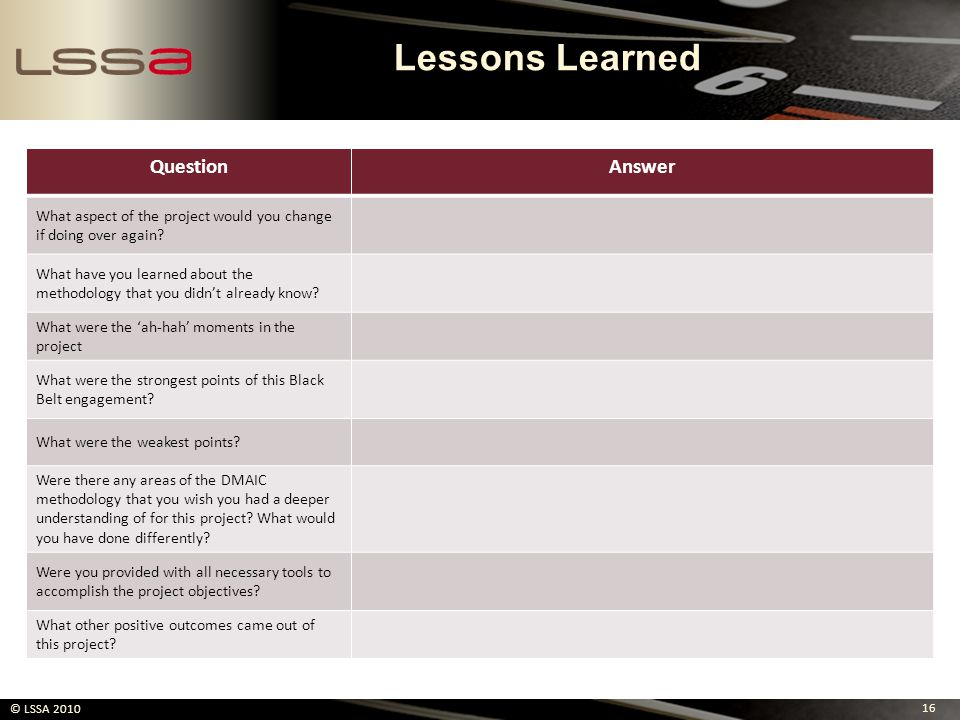 Lessons Learned Question Answer