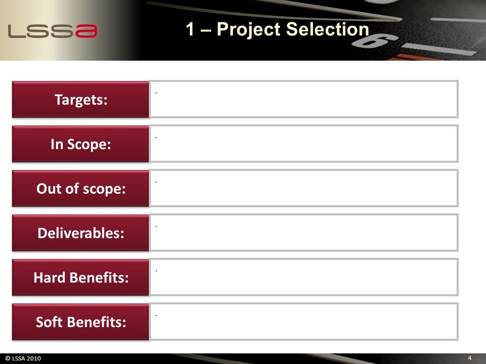 1 – Project Selection Targets: In Scope: Out of scope: Deliverables: