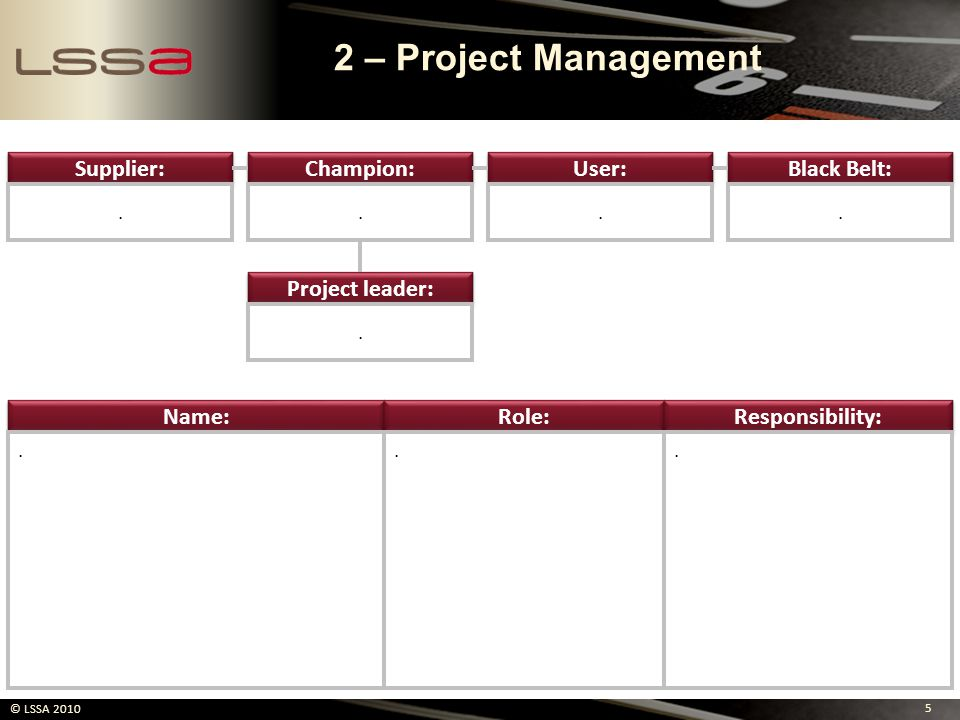 2 – Project Management Supplier: Champion: User: Black Belt: