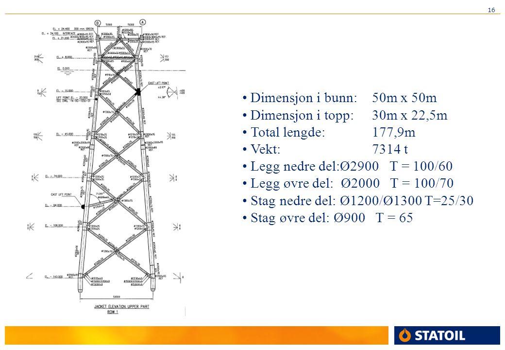 Dimensjon i bunn: 50m x 50m Dimensjon i topp: 30m x 22,5m. Total lengde: 177,9m. Vekt: 7314 t.