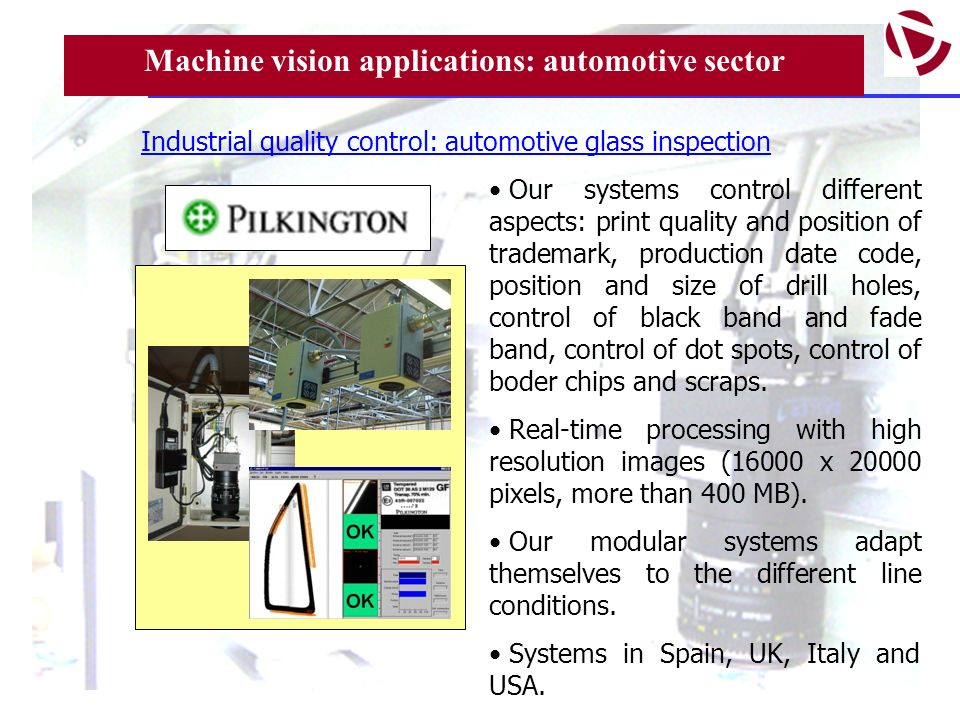 Machine vision applications: automotive sector