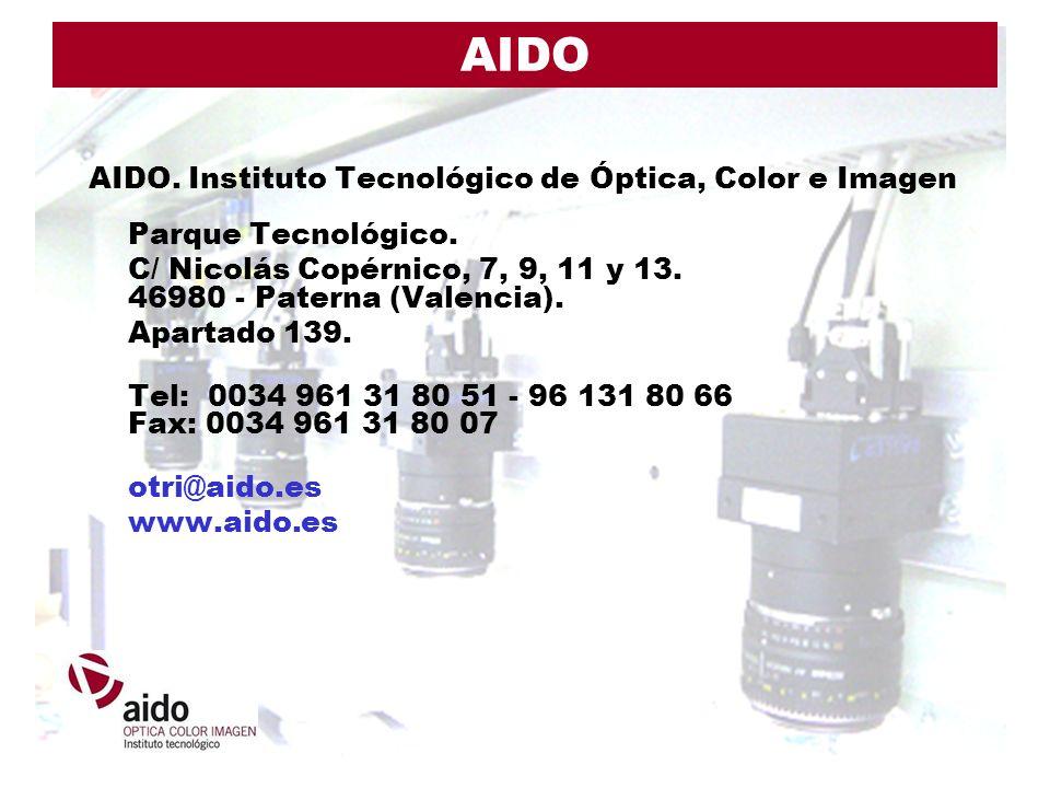 AIDO AIDO. Instituto Tecnológico de Óptica, Color e Imagen Parque Tecnológico. C/ Nicolás Copérnico, 7, 9, 11 y 13. 46980 - Paterna (Valencia).